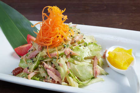 Japan salad with smoked chicken and vegetables   closeup Stock Photo - 15799279
