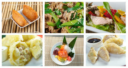 Food set of different chinese cuisine . collage photo