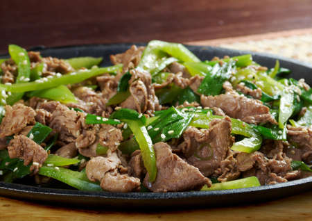 chinese cuisine .Chinese dish - beef with vegetables close-up  photo