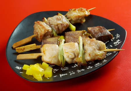 Japanese skewered chicken,pork,meatYakitori  .closeup photo