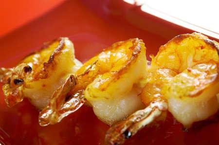 jumbo shrimp: Japanese skewered  Jumbo Shrimp  .closeup Stock Photo