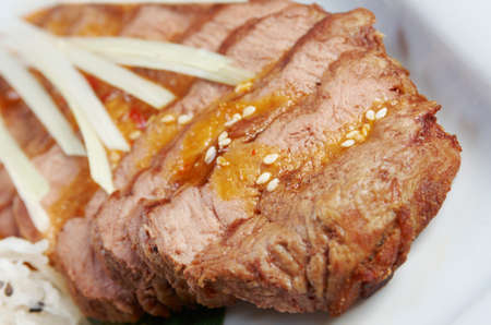 buffet table: Grilled beef .Shallow depth-of-field. Stock Photo