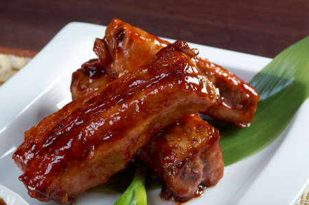 chinese cuisine  roasted pork ribs in a plate