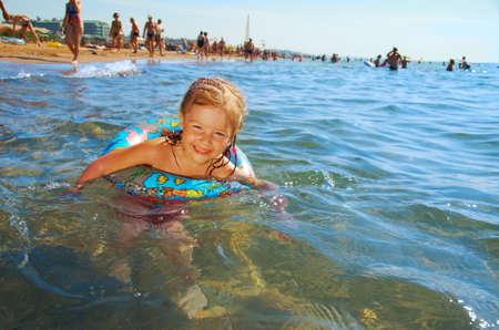 ittle: ittle girl on the beach.Mediterranean Resort Antalya Turkey