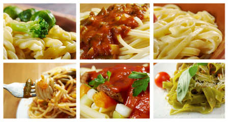 Food set of different  italian pasta. collage photo