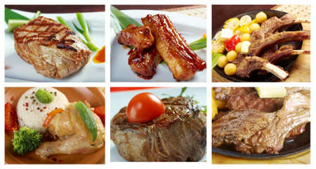 Food set of different  meat . collage Archivio Fotografico