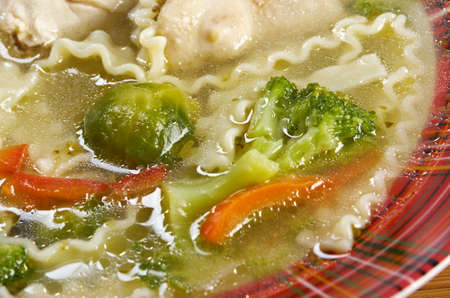 mea: Chicken homemade  soup with noodle and vegetables Stock Photo