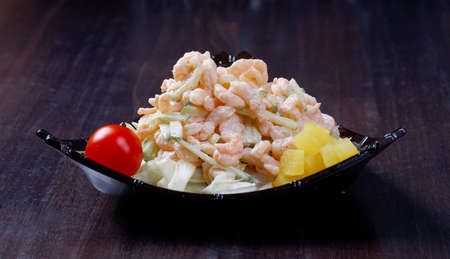 japanese salad with prawn and mushroom photo