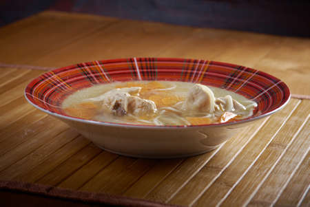 Chicken homemade  soup with noodle and vegetables photo