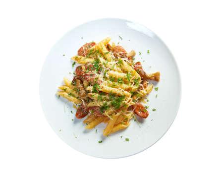 perish:  Italian Penne rigate pasta with sausage,perish