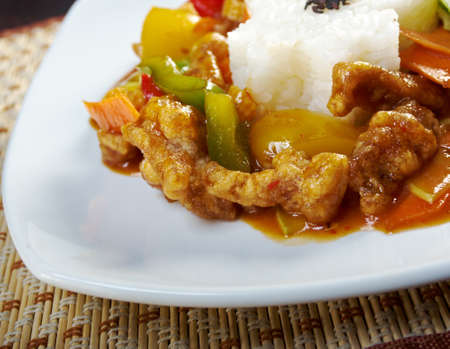 pork with vegetable and soya sauce.closeup.chinese cuisine photo
