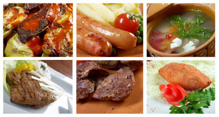 Food set of different  meat . collage Stock Photo - 20357645