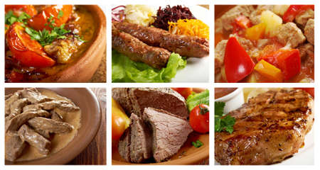 Food set of different  meat . collage. barbecue grill photo