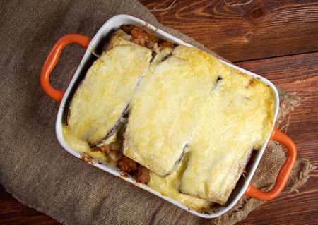 homestyle: Lamb moussaka with egg plant cheese in baking form.farm-style Stock Photo