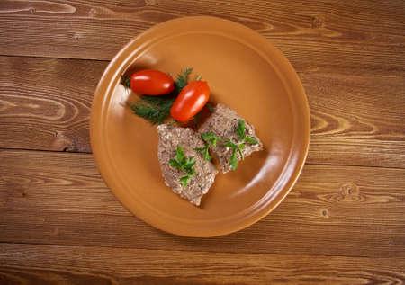 l plate: escalope with vegetables.closeup.farmhouse kitchen