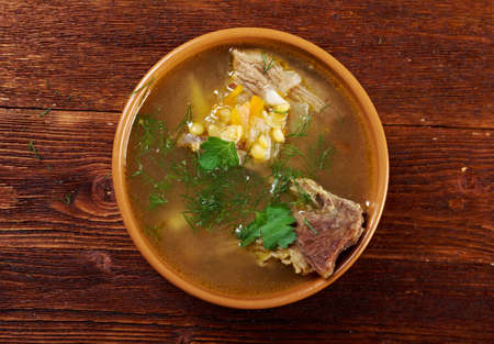 Pea soup with beef ribs .farmhouse kitchen photo