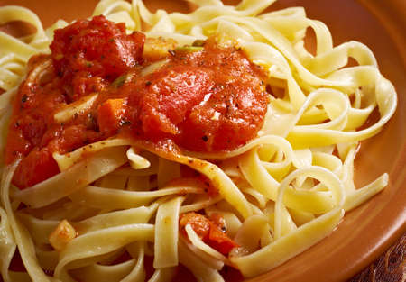 marinara: Sicilian homemade pasta Fettuccine with marinara sauce. Stock Photo