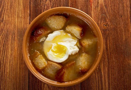 cazuela: sopa de ajo , castilian garlic soup Stock Photo