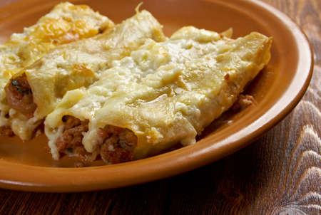 homestyle: Cannelloni with beef ragu and topped with bechamel sauce.
