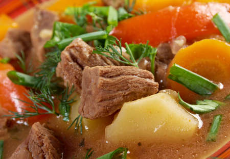 meat soup: Irish stew farm-style  with tender lamb meat, potatoes and vegetables Stock Photo
