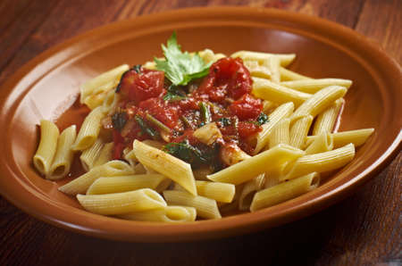 homestyle: plate of penne rigata pasta with marinara sauce .farm-style