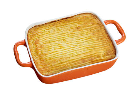 delicious home made  Shepherds pie - traditional British home-cooking.baked mashed potatoes and ground beef with vegetables photo