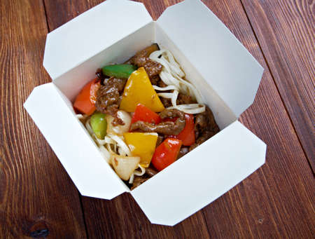 Beef slice  and udon-noodle.chinese cuisine in take-out box photo