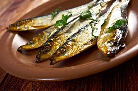 homestyle: Smoked herring  -home-style. closeup Stock Photo
