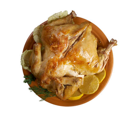 cooking ware: Pollo alla diavola.chicken and  lemon sauce.mediterranean cooking