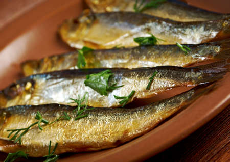 homestyle: Smoked herring  -home-style. closeup Stock Photo