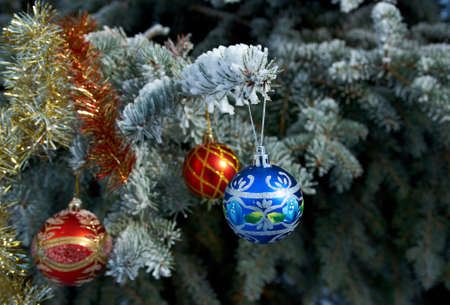 branche sapin noel: lumineux Boule de No�l � partir d'une branche couverte de neige arbre de No�l