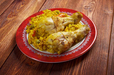 Peruvian dish called Arroz con Pollo.chicken with rice, vegetables