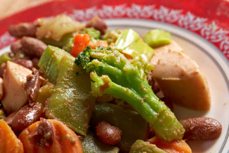 sausage pot: Cassoulet with pork sausage, and beans in the pot