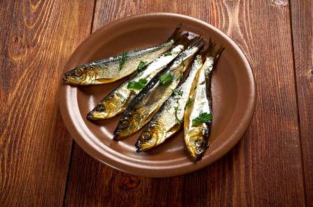 homestyle: Smoked herring  -home-style  closeup Stock Photo