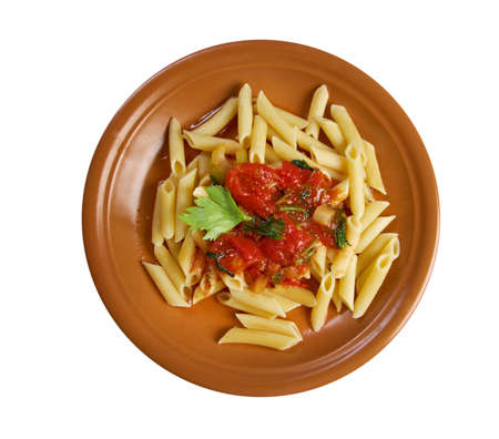 marinara: plate of penne rigata pasta with marinara sauce