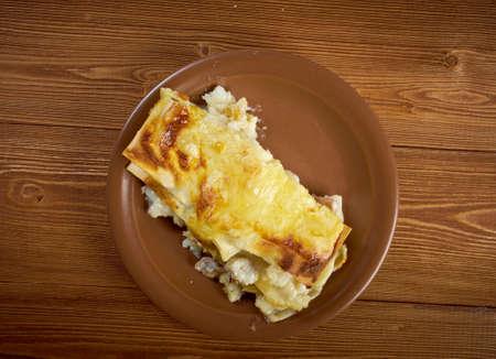 codfish: fish lasagna.country cuisine .farm-style