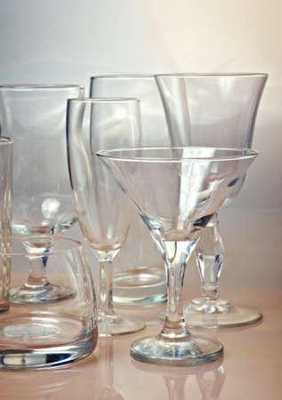Clean empty glassware collection. closeup