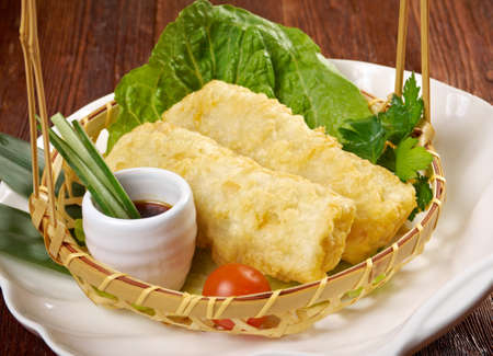 nem: Chinese style .Banh trang - typically used in Vietnamese nem dishes. Stock Photo