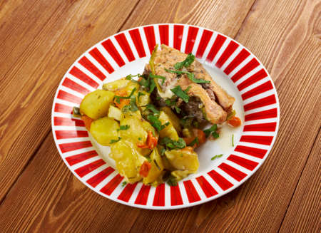 Baked trout with potatoes photo