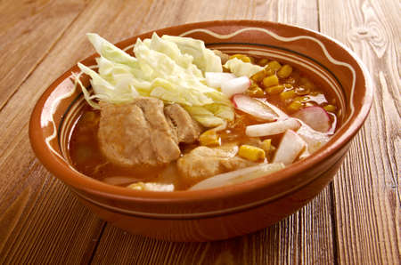 pozole - traditional pre-Columbian soup or stew from Mexico photo
