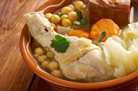 northern spain: Cocido  Madrilene Stew. particularly in the central and northern regions of Spain Stock Photo