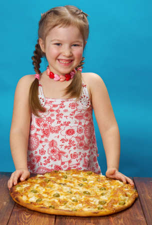 little girl with pizza photo