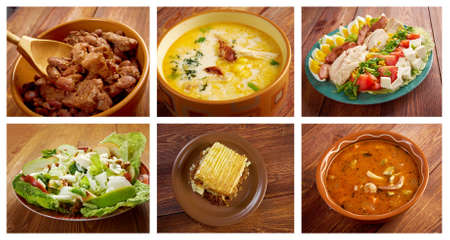 Food set American cuisine.collage photo