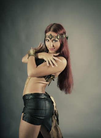 Sexy wild woman  amazon  .young warrior woman  Stock Photo