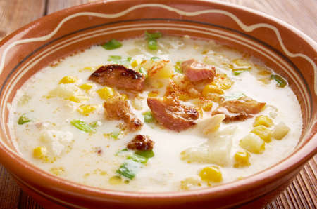 chowder: Bacon Chili Corn Chowder  a type of thick cream-based soup or chowder similar to New England clam chowder, with corn substituted for clams