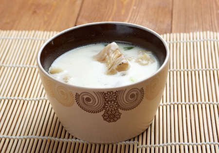 halibut: New England clam chowder with halibut Stock Photo