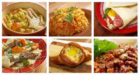 Food set oriental cuisine.collage photo