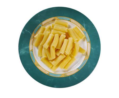 comida italiana: Comida italiana. Pasta Rigatoni.