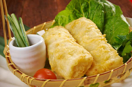 Chinese style .Banh trang - typically used in Vietnamese nem dishes. photo