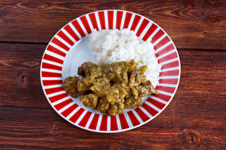 Indian Beef Curry with with basmati rice  photo